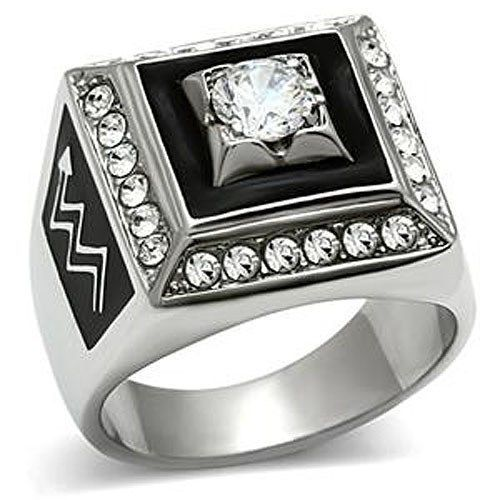 Stainless Steel Square Faced Black and White Cubic Zirconia Mens Ring SIZE 8