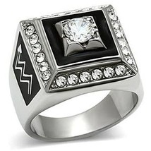 Stainless Steel Square Faced Black and White Cubic Zirconia Mens Ring SIZE 8 image 1