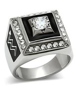 Stainless Steel Square Faced Black and White Cubic Zirconia Mens Ring SI... - $20.24