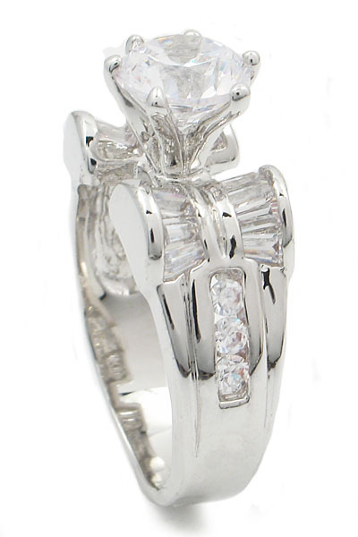 Round and Baguette Cut Cubic Zirconia Engagement Ring - SIZE 9 (LAST ONE) image 3