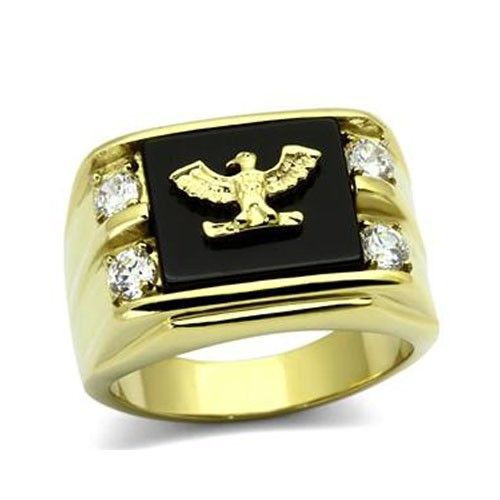Stainless Steel Gold Tone Genuine Agate Men's Eagle Ring - SIZE 8 - 13