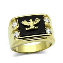 Stainless Steel Gold Tone Genuine Agate Men's Eagle Ring - SIZE 8 - 13 image 1