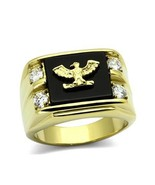 Stainless Steel Gold Tone Genuine Agate Men's Eagle Ring - SIZE 8 - 13 - $16.06