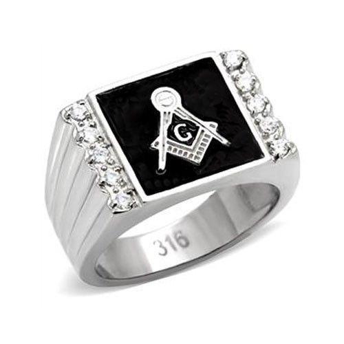 Stainless Steel Black Enamel Cubic Zirconia Men's Masonic Ring - SIZE 8 - 13