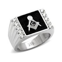 Stainless Steel Black Enamel Cubic Zirconia Men's Masonic Ring - SIZE 8 - 13 image 1