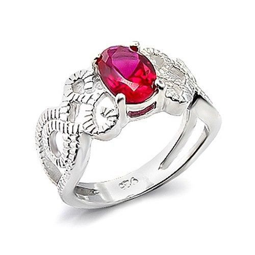 Silver Tone Filigree Band Oval Cut Red Cubic Zirconia Ring - SIZE 7, 8
