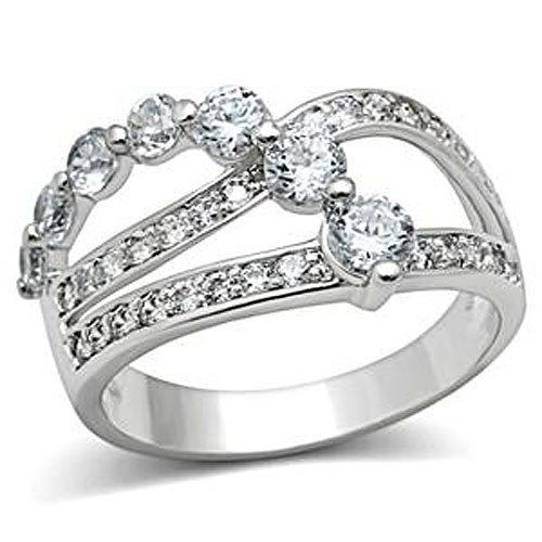 Three Row Cubic Zirconia Bridal Band Ring - SIZE 5 TO 9