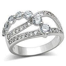 Three Row Cubic Zirconia Bridal Band Ring - SIZE 5 TO 9 image 1