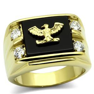 Stainless Steel Gold Tone Genuine Agate Men's Eagle Ring - SIZE 8 - 13 image 2