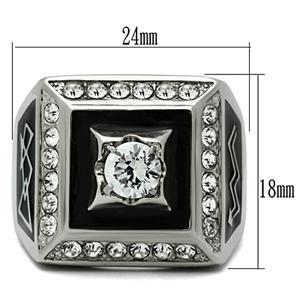 Stainless Steel Square Faced Black and White Cubic Zirconia Mens Ring SIZE 8 image 2