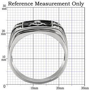 Stainless Steel Black Enamel Cubic Zirconia Men's Masonic Ring - SIZE 10 image 2