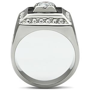 Stainless Steel Square Faced Black and White Cubic Zirconia Mens Ring SIZE 8 image 3