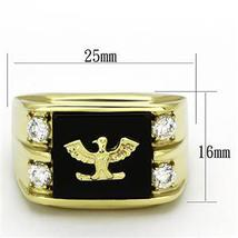 Stainless Steel Gold Tone Genuine Agate Men's Eagle Ring - SIZE 8 - 13 image 3