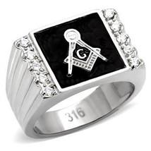 Stainless Steel Black Enamel Cubic Zirconia Men's Masonic Ring - SIZE 8 - 13 image 2