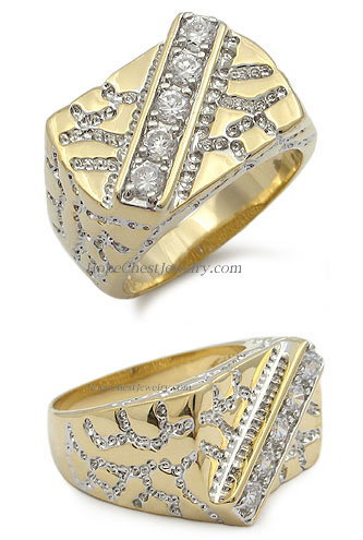 Gold Tone Channel Setting Cubic Zirconia Men's Ring - SIZE 10, 12