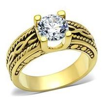 IP Gold 2.30 Carat Antique Design Cubic Zirconia Engagement Ring - SIZE 5 - 10 image 2