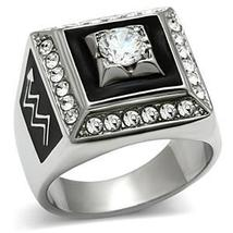 Stainless Steel Square Faced Black and White Cubic Zirconia Mens Ring SIZE 8 image 4