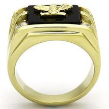 Stainless Steel Gold Tone Genuine Agate Men's Eagle Ring - SIZE 8 - 13 image 4