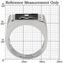 Stainless Steel Black Enamel Cubic Zirconia Men's Masonic Ring - SIZE 8 - 13 image 3