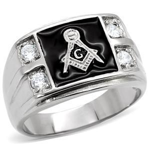 Stainless Steel Black Enamel Cubic Zirconia Men's Masonic Ring - SIZE 10 image 3
