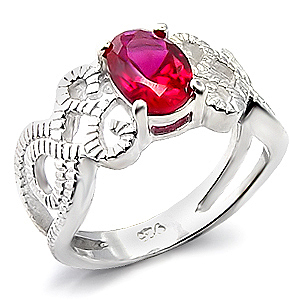 Silver Tone Filigree Band Oval Cut Red Cubic Zirconia Ring - SIZE 7, 8 image 2