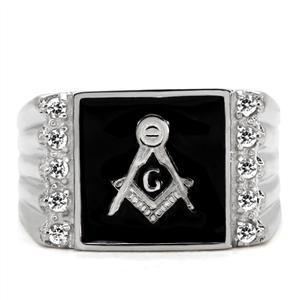 Stainless Steel Black Enamel Cubic Zirconia Men's Masonic Ring - SIZE 8 - 13 image 4