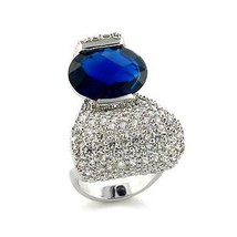 Designer Inspired Pave Cubic Zirconia Clear & Blue CZ Ring - SIZE 7 (LAST ONE) image 1