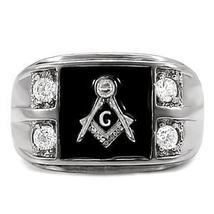 Stainless Steel Black Enamel Cubic Zirconia Men's Masonic Ring - SIZE 10 image 4