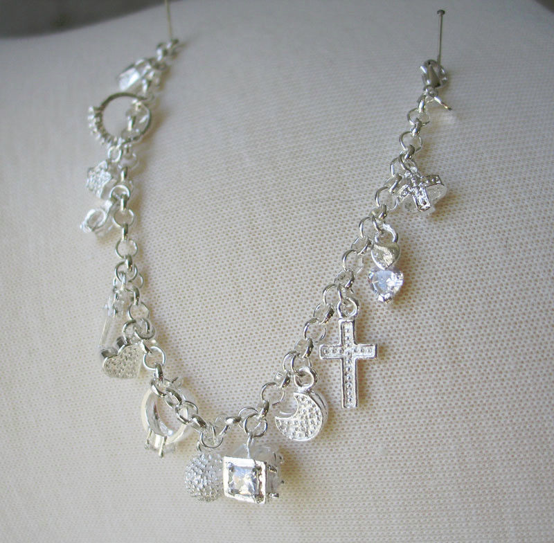 7.75 inch Sterling Silver Link Bracelet with Multiple Charms -  SHIP FROM USA