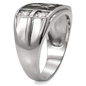 Stainless Steel Black Enamel Cubic Zirconia Men's Masonic Ring - SIZE 10 image 5