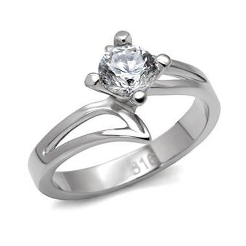 Stainless Steel Round Cut Solitaire CZ Bypass Engagement Ring - SIZE 7