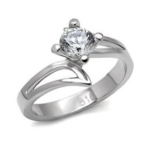 Stainless Steel Round Cut Solitaire CZ Bypass Engagement Ring - SIZE 7 image 1