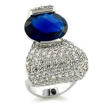 Designer Inspired Pave Cubic Zirconia Clear & Blue CZ Ring - SIZE 7 (LAST ONE) image 2