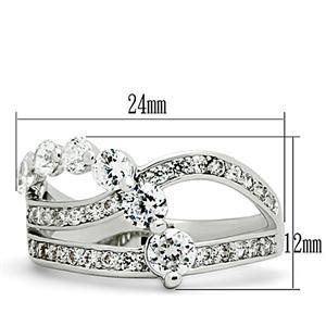 Three Row Cubic Zirconia Bridal Band Ring - SIZE 5 TO 9 image 3