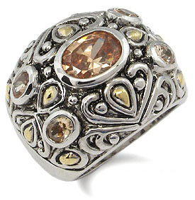 Antique Design 2 Tone Champagne Cubic Zirconia Ring - SIZE 7 (last one) image 2