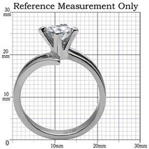 Stainless Steel Round Cut Solitaire CZ Bypass Engagement Ring - SIZE 7 image 2