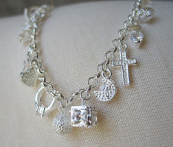 7.75 inch Sterling Silver Link Bracelet with Multiple Charms -  SHIP FROM USA image 3