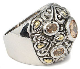 Antique Design 2 Tone Champagne Cubic Zirconia Ring - SIZE 7 (last one) image 3