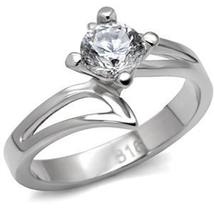Stainless Steel Round Cut Solitaire CZ Bypass Engagement Ring - SIZE 7 image 3
