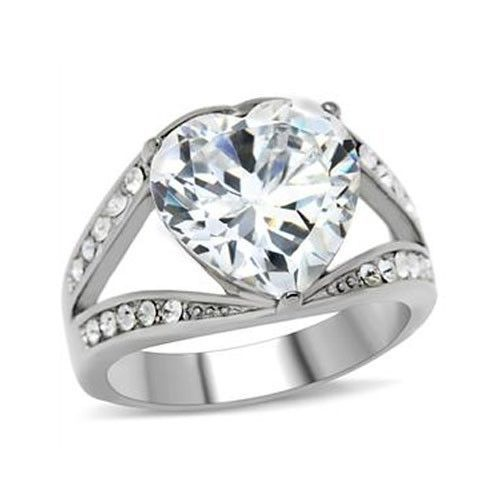 STAINLESS STEEL RING - Big Heart Shape Cubic Zirconia Ring - SIZE 7
