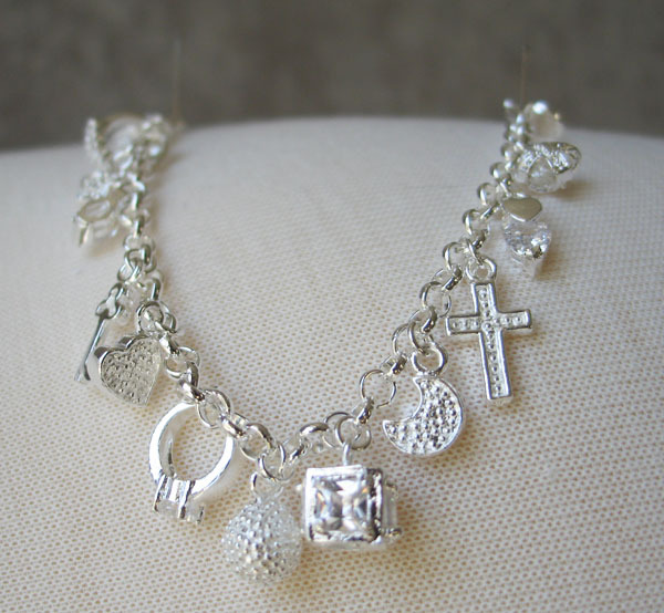 7.75 inch Sterling Silver Link Bracelet with Multiple Charms -  SHIP FROM USA image 4