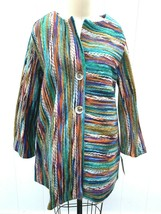 Yushi Womens M Coat multi-color yarn stripe Tunic NWT Funky Artsy  - $89.00