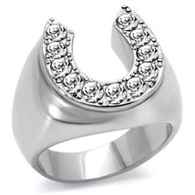 Stainless Steel Good Luck Silver Tone Horse Shoe Men's Ring - SIZE 11 image 2