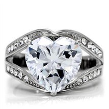 STAINLESS STEEL RING - Big Heart Shape Cubic Zirconia Ring - SIZE 7 image 2