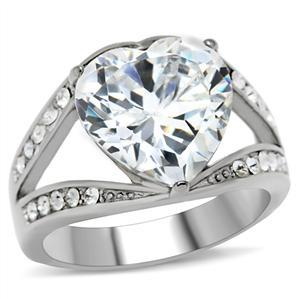 STAINLESS STEEL RING - Big Heart Shape Cubic Zirconia Ring - SIZE 7 image 3