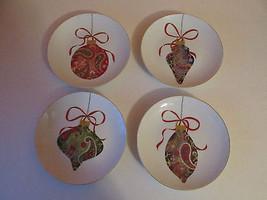 222 Fifth Paisley Ornament 4 PC Holiday Mini Appetizer Dessert Plates     - $36.51