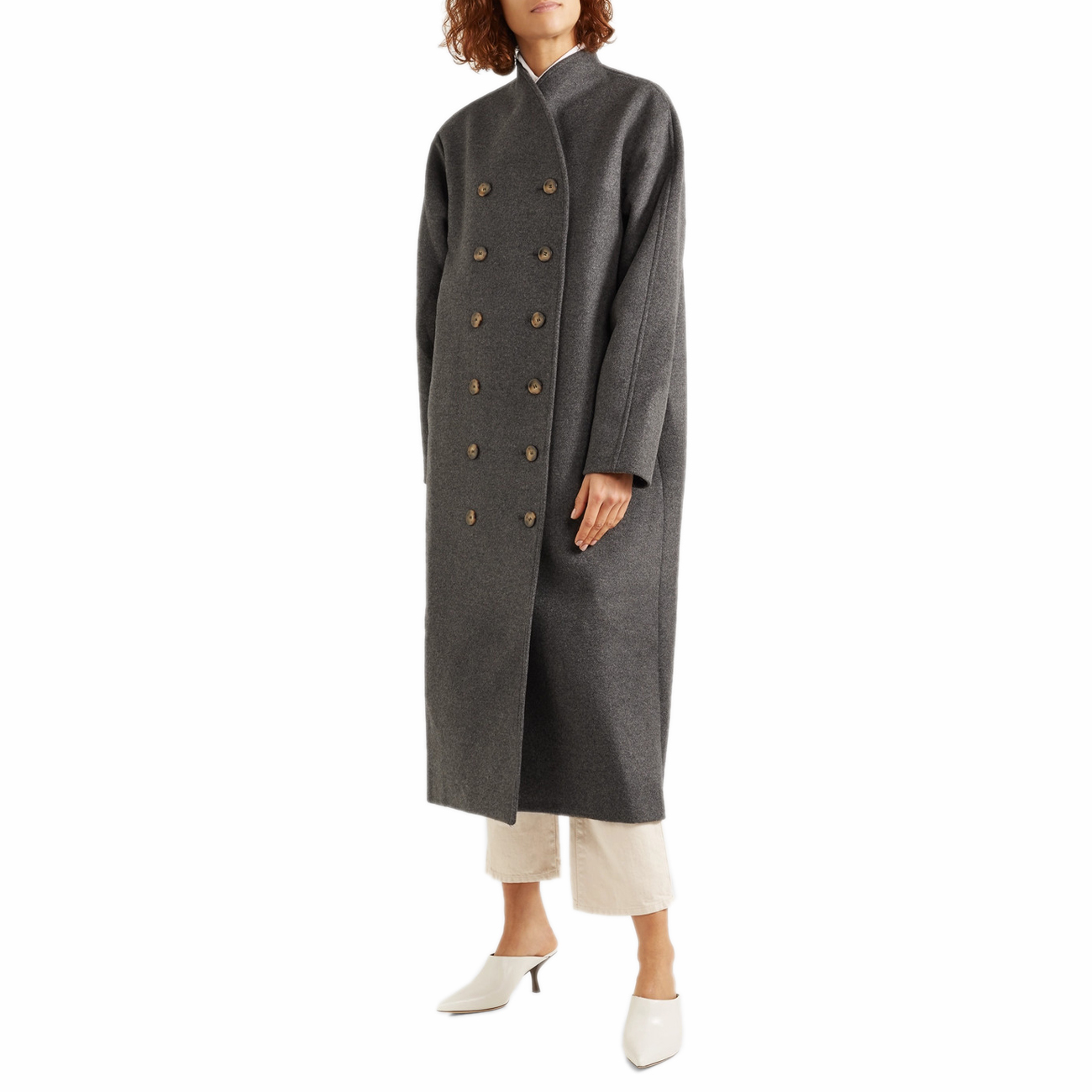 701c444b56f9 Women Toteme Bergerac Wool Coat Gray Melange Double Breasted Jacket
