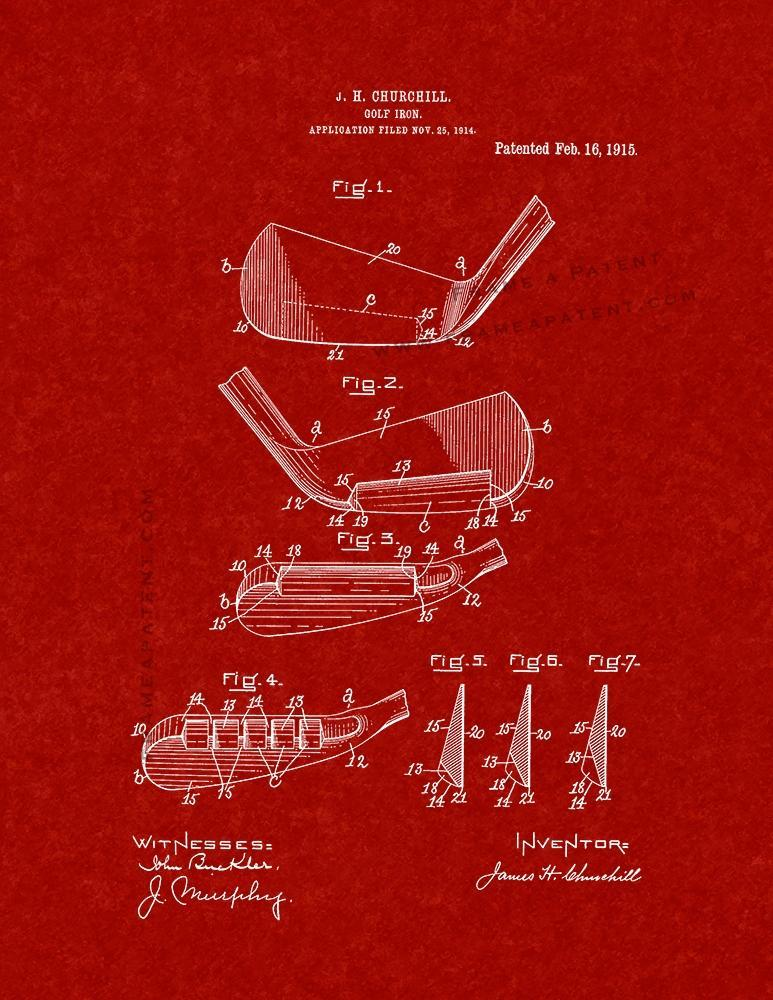 Primary image for Golf Iron Patent Print - Burgundy Red