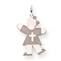 14k White Gold 'The Kids' Polished & Etched Girl Cross Kiss Charm Pendant - $90.69