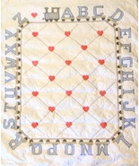 One of a Kind Baby Boy Quilt 100% Cotton Alphabet Train White Blue Gray Red  - $150.00
